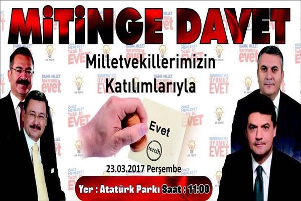 Ak Parti İlçe Başkanı Demirbaş'tan Mitinge Davet