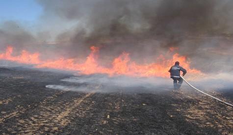 Çubukta anız yangını