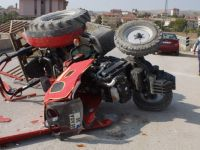 Çubuk'ta traktör devrildi: 1 yaralı