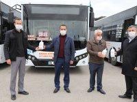 Çubuk'ta otobüs ve dolmuşlara el dezenfektanı konuldu